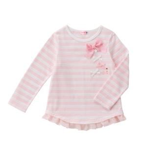 (送料無料)ミキハウス(mikihouse)リボン付きラメボーダー長袖Tシャツ日本製(140cm)