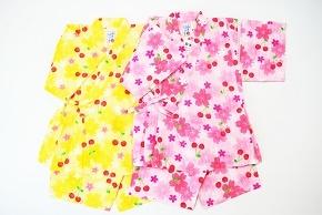 (定価7300円+税をSALE)ミキハウス(mikihouse)桜とサクランボ柄♪甚平スーツスーツ日本製(90cm)