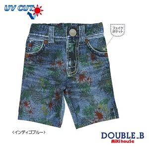 ダブルB(夏物)DOUBLE.B mikihouseデニムプリント♪スイムパンツ水着(80cm、90cm)
