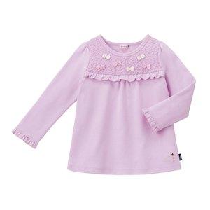 (送料無料)ミキハウス(mikihouse)ミニリボン&レース使いリーナちゃん長袖Tシャツ日本製(90cm、100cm)