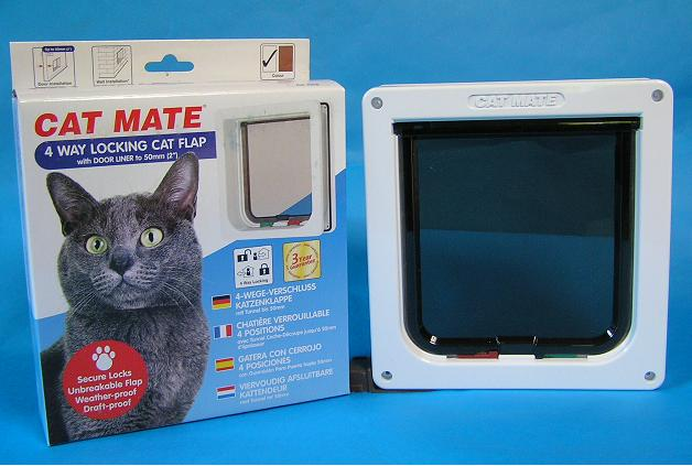 PET-MATE正規品、普通猫用入専、出専、フリー、ロックの切替出来ます。計一万円以上送料無料。関東圏取付承り。  猫ドアR235(白)4WAYロック、独自の取付易い両面取付