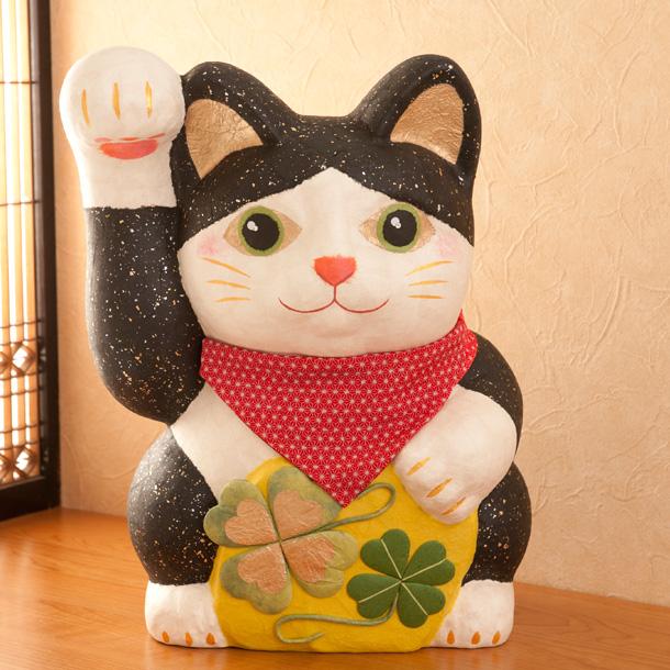 招き猫 置物 商売繁盛 祝 開店祝い開店お祝 ちぎり和紙幸せ招き猫(特大) 福猫 金運 縁起物 ディスプレイ 『龍虎堂』リュウコドウ