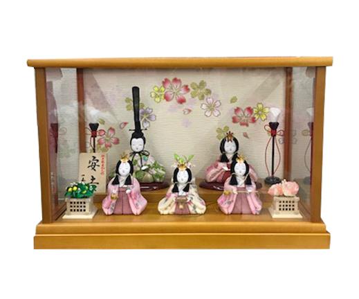 木目込雛人形 【5007-27】ガラスケース飾り 五人飾り
