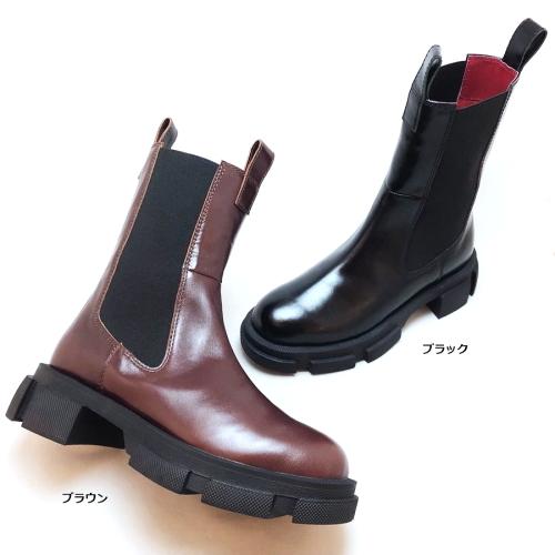 人気の厚底ソールを使ったちょっと長めのサイドゴアブーツ MANA マナ 518029 ショートブーツ サイドゴア 厚底 靴 レディース レザー 本革 商い 在庫あり
