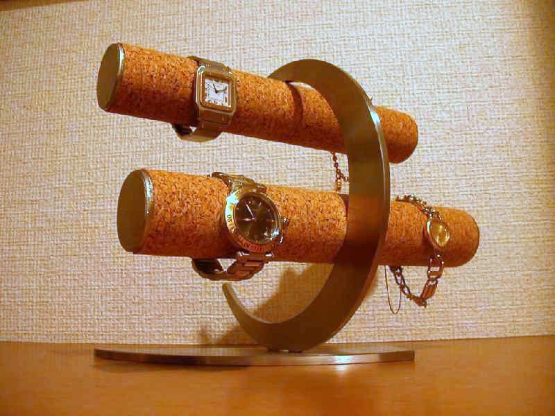 時計スタンド 腕時計 スタンド 8本用 誕生日プレゼント ノベルティー 三日月 ウォッチスタンド ケース 時計置き 時計ケース ディスプレイスタンド 記念品 ギフト 贈り物 時計 飾る 腕時計 収納 三日月デザイン丸パイプコルク張り腕時計スタンド