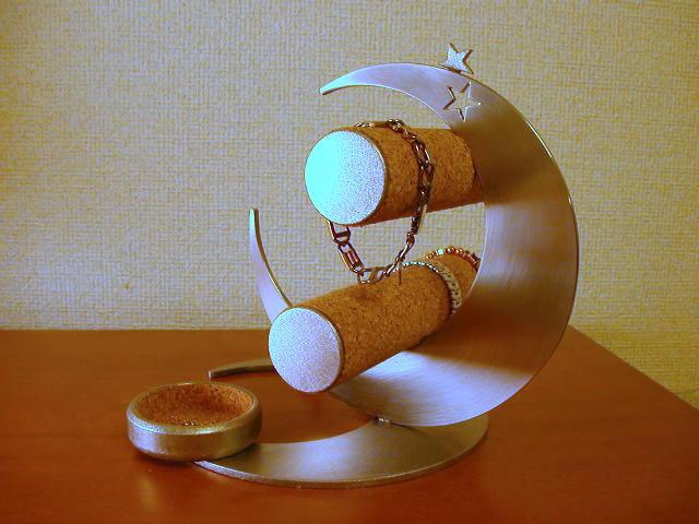 プレゼントに 貴金属飾る スタンド ダブルムーン腕時計スタンド リングスタンド・トレイ付き