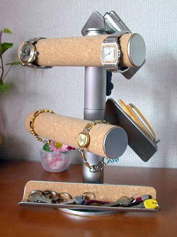 腕時計スタンド 腕時計&携帯スタンド大きいトレイ付き