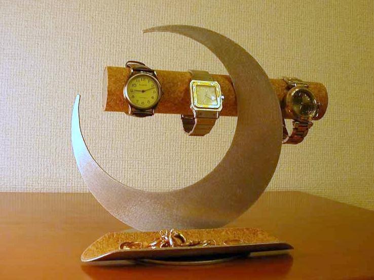 時計スタンド 三日月ムーンアクセサリースタンドロングハーフパイプトレイ付き