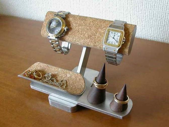 ウォッチスタンド 腕時計 スタンド ディスプレイ コレクション 収納 インテリア アクセサリースタンド 時計スタンド 腕時計飾る ハンドメイド だ円コルク貼り腕時計スタンド トレイ・リングスタンド付き