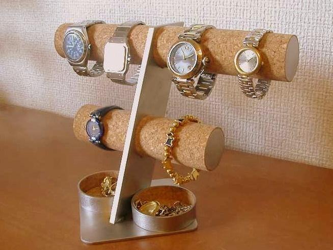 6本掛け腕時計スタンド丸トレイバージョン