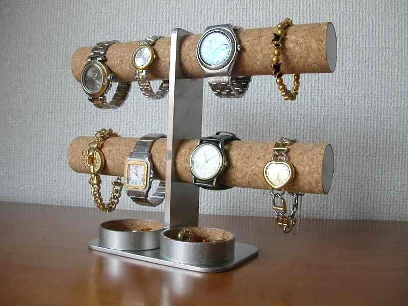 プレゼントに 腕時計スタンド ダブル丸トレイ8本掛けインテリア腕時計スタンド