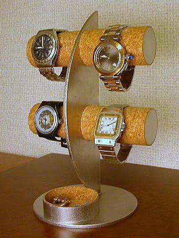 誕生日プレゼントに アクセサリースタンド 三日月ムーン腕時計ディスプレイスタンド 丸トレイバージョン
