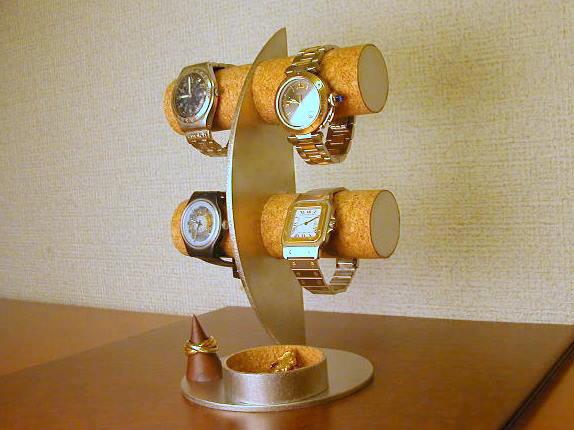 誕生日プレゼントに 時計スタンド 三日月腕時計ディスプレイスタンド 丸トレイ指輪スタンド付き