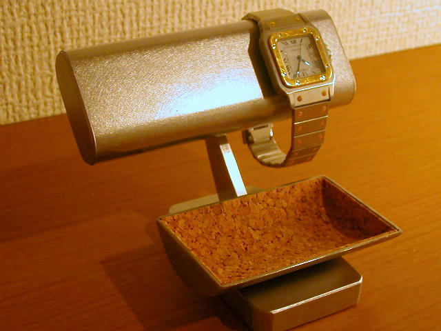 プレゼントに 腕時計スタンド だ円パイプステンレス腕時計スタンドミニトレイ付き