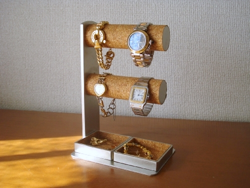時計スタンド 4本掛け腕時計スタンドダブルトレイ付き