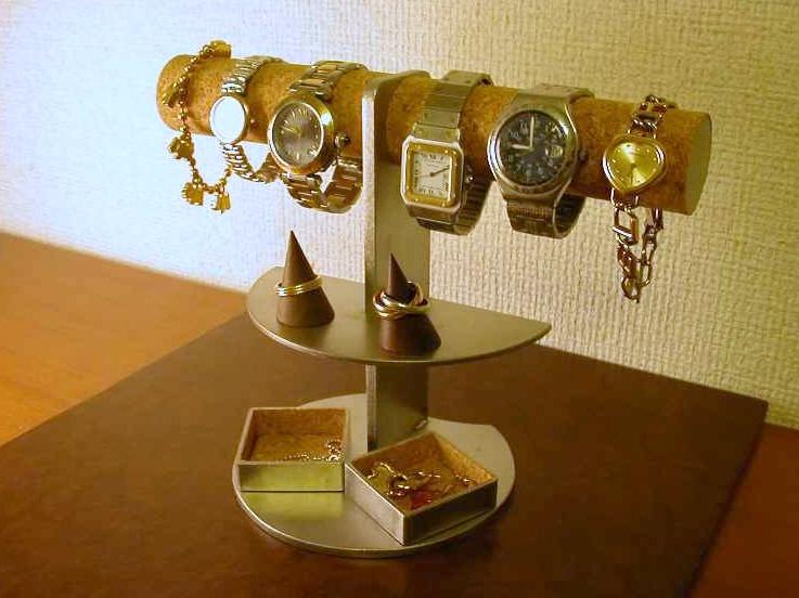 誕生日プレゼントに 腕時計スタンド 6本掛け腕時計ディスプレイスタンド 角トレイ・リングスタンド付