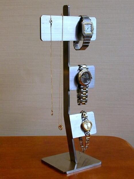 ネックレススタンド ステンレスバータイプ腕時計&ネックレスディスプレイスタンド