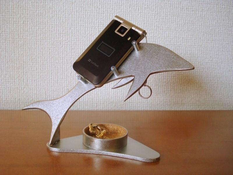 スマホ スタンド 丸トレイ付きドルフィン携帯電話スタンド