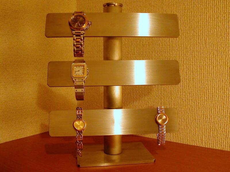腕時計スタンド 3段バー可動式腕時計スタンド ステンレスバージョン