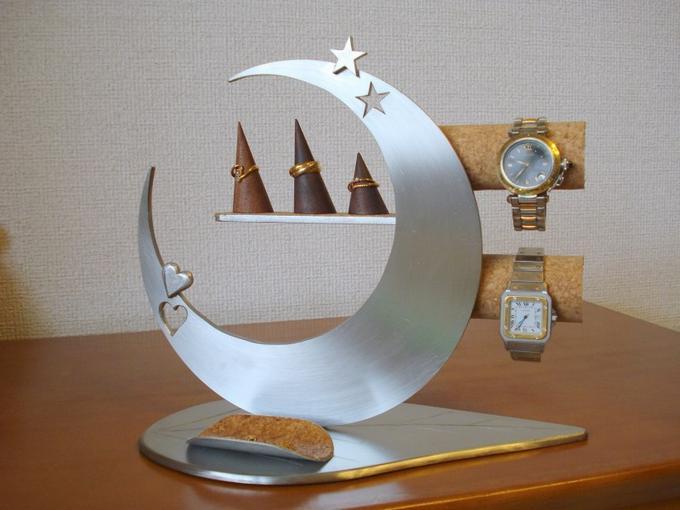 プレゼントに 時計スタンド リーフ三日月ハート&スターアクセサリースタンド