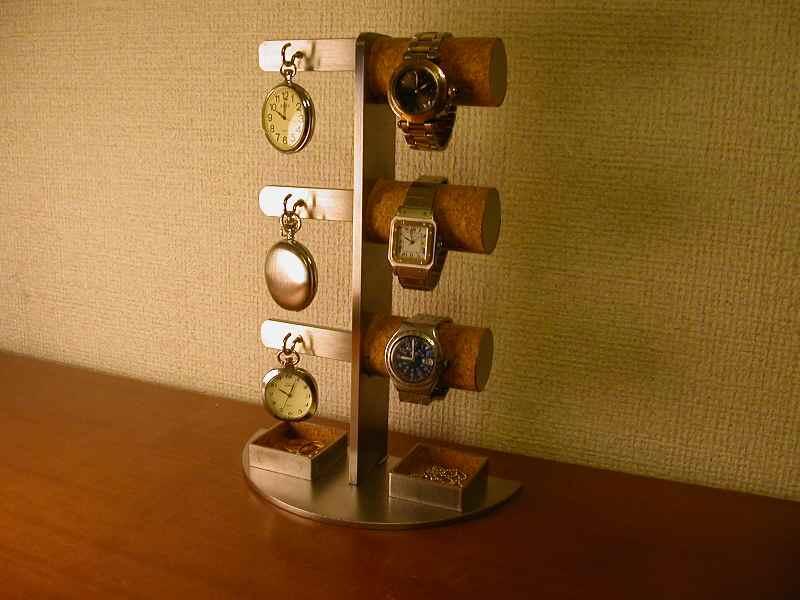 誕生日プレゼントに 腕時計スタンド ダブル角トレイ腕時計&懐中時計スタンド