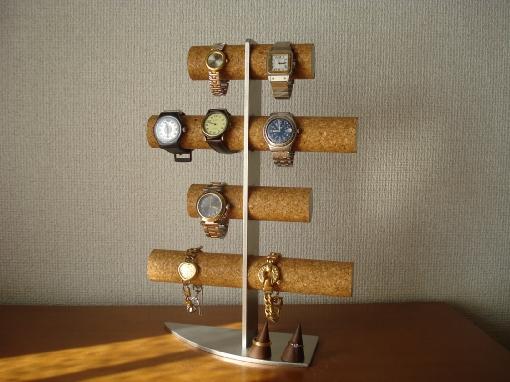 プレゼントに 時計ケース 4段12本掛け腕時計スタンドダブル指輪スタンド付き