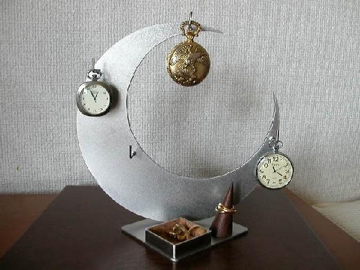 誕生日プレゼントに 三日月懐中時計スタンド トレイ、指輪スタンド付き