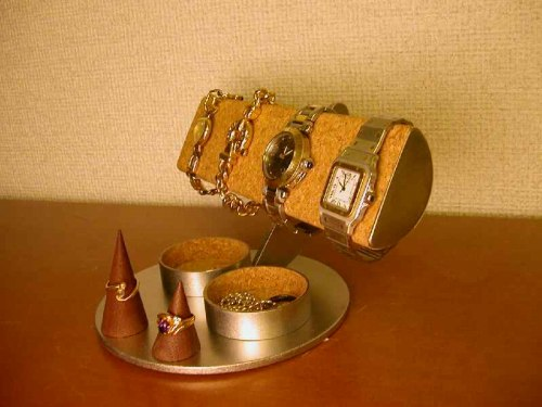 誕生日プレゼントに 腕時計収納 半円腕時計スタンドダブル丸トレイ 木製チョコレート色リングスタンド付き