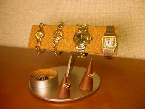 誕生日に 腕時計収納 半円腕時計スタンドダブル丸トレイ&リングスタンド