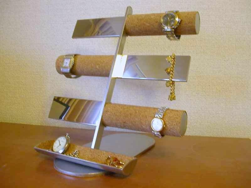 腕時計スタンド 12本掛けコルク&バー腕時計&トレイ付きアクセサリースタンド