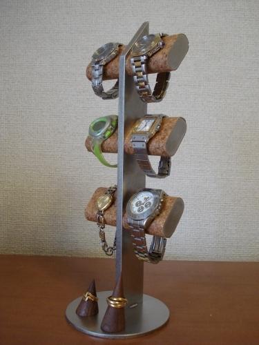 腕時計スタンド だ円6本掛けチョコレート色指輪スタンド付き