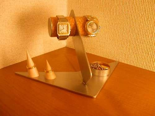 ウォッチスタンド デザイン2本掛け★指輪スタンド、トレイ付き