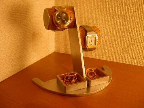 誕生日プレゼントに 腕時計スタンド 段違い2本掛けトレイ付き