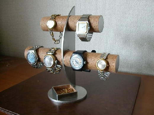 ウォッチケース 6本掛け三日月腕時計スタンド菱形トレイ★AK60