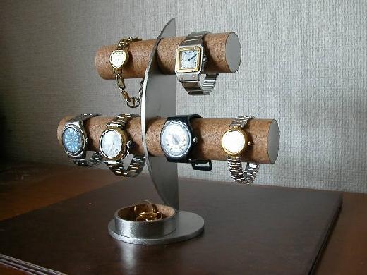 時計スタンド 6本掛け腕時計スタンド丸トレイバージョン★AK61