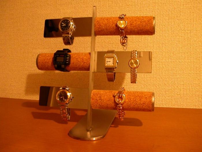 時計スタンド 12本掛けコルク&バー腕時計スタンド★AK70