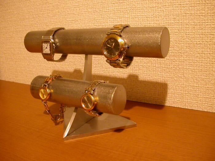 時計スタンド 透明シート、ステンレス2段腕時計スタンド★AK510