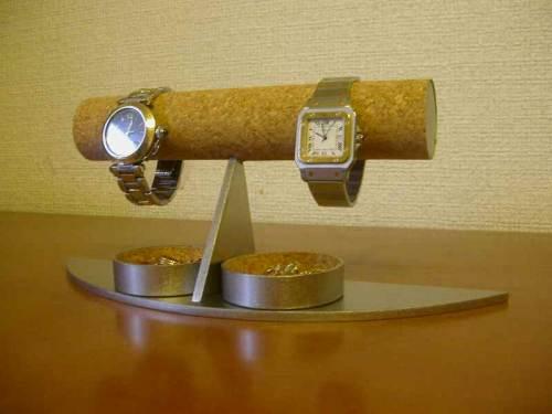 誕生日プレゼントに 腕時計スタンド 三日月台4本掛けダブル丸トレイ腕時計スタンド★AK454