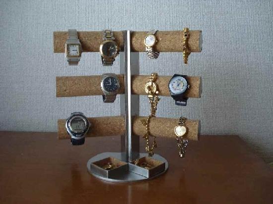 腕時計スタンド 角度付き12本掛けダブル菱形トレイバージョンAK430