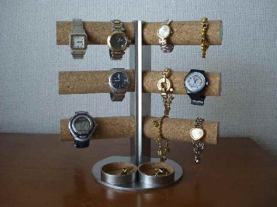 時計ケース 角度付き12本掛けダブル丸トレイタワー腕時計スタンド★AK210