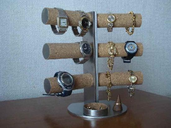 プレゼントに 時計スタンド 12本掛け腕時計スタンド指輪スタンド、丸トレイ型AK775 ウォッチケース