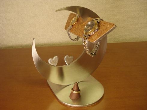 バレンタインデーにどうぞ 腕時計 飾る 収納 三日月ダブル気まぐれハート腕時計、リングスタンド★BK10