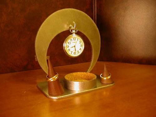 懐中時計コレクションケース 三日月懐中時計丸トレイ&ダブルリングスタンド★CK9