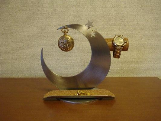 父の日に 三日月インテリア腕時計、懐中時計スタンドロングトレイ
