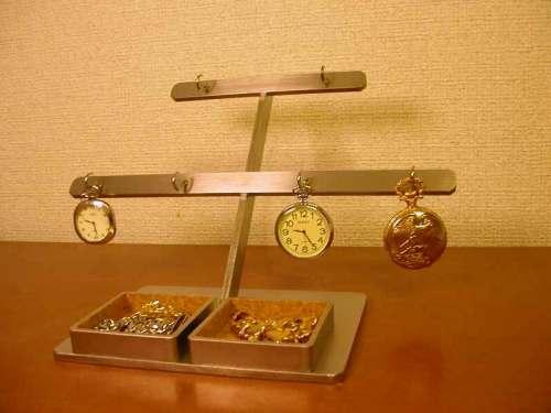 プレゼントに 懐中時計 飾る 6本掛けダブルデカイトレイ懐中時計スタンド DK444
