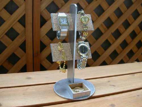 プレゼントに 時計スタンド バー4本掛け腕時計スタンド 丸いトレイ付き AK658 ak-design