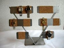 誕生日プレゼントに V型コルク&ステンレス腕時計収納、ディスプレイスタンド AK709