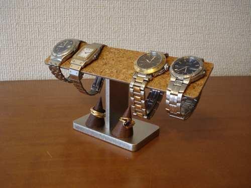 腕時計スタンド オープニング 大放出セール 4本掛けバー腕時計スタンド 木製チョコ色リングスタンド付き アウトレット☆送料無料