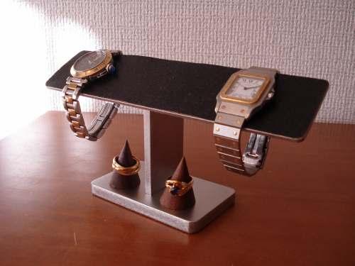 父の日プレゼント 腕時計スタンド ブラックコルクバー4本掛け腕時計スタンド 木製チョコ色リングスタンド AK420