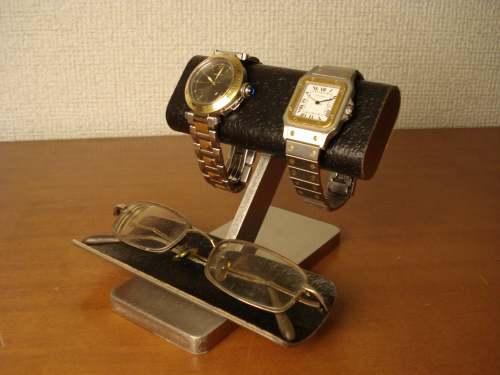 ウオッチケース ウォッチスタンド だ円パイプブラックコルク2本掛け腕時計スタンド 眼鏡スタンド GK12